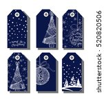 set of christmas and new year... | Shutterstock .eps vector #520820506