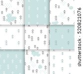 scandinavian pattern with fir... | Shutterstock .eps vector #520821076
