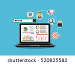 flat illustration web analytics ... | Shutterstock .eps vector #520825582