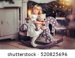 adorable little blonde girl... | Shutterstock . vector #520825696