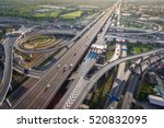 aerial view of busy highway... | Shutterstock . vector #520832095