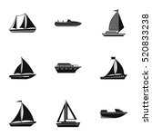 yacht icons set. simple... | Shutterstock .eps vector #520833238