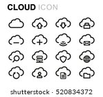 vector line cloud icons set on... | Shutterstock .eps vector #520834372