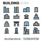 vector flat buildings icons set ... | Shutterstock .eps vector #520834558