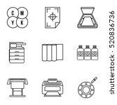 print icons set. outline... | Shutterstock .eps vector #520836736