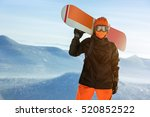 snowboarder with snowboard... | Shutterstock . vector #520852522