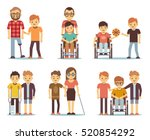 disabled people and friends... | Shutterstock .eps vector #520854292