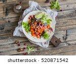 tortilla with sweet potato ...   Shutterstock . vector #520871542