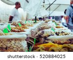 Market Stall With Various Dried ...