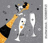 champagne flutes and bottle.... | Shutterstock .eps vector #520885915