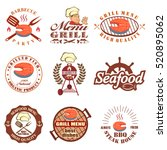 set of seafood labels and... | Shutterstock . vector #520895062