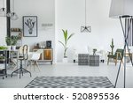 white loft interior in... | Shutterstock . vector #520895536