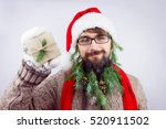 guy dressed as santa wearing... | Shutterstock . vector #520911502