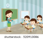teacher teaching students in... | Shutterstock .eps vector #520913086