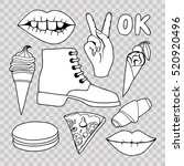 a set of monochrome quirky... | Shutterstock .eps vector #520920496