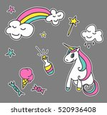 fashion patch badges. magic set.... | Shutterstock .eps vector #520936408