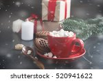 hot chocolate in a red cup with ... | Shutterstock . vector #520941622