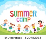children are jumping on the... | Shutterstock . vector #520953085