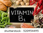 Small photo of Foods Highest in Vitamin B1 (Thiamin). Flat lay