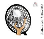 shuttlecock with racket in... | Shutterstock .eps vector #520963036