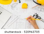 hand over construction plans... | Shutterstock . vector #520963705
