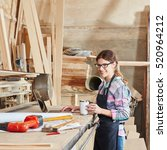 woman as carpentry apprentice... | Shutterstock . vector #520964212