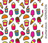seamless pattern with fashion... | Shutterstock .eps vector #520965256