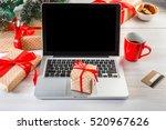 christmas online shopping.... | Shutterstock . vector #520967626