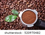 ground coffee in filter with... | Shutterstock . vector #520970482