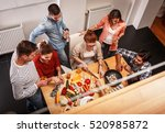 young group of friends in... | Shutterstock . vector #520985872