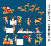 christmas set of deer with... | Shutterstock .eps vector #520987102