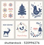 winter holidays greeting cards. ... | Shutterstock .eps vector #520996276