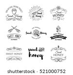 sweet honey. beehive. spoon of... | Shutterstock .eps vector #521000752
