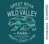 wild valley bear typography  t... | Shutterstock .eps vector #521000902