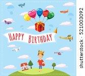 happy birthday landscape... | Shutterstock . vector #521003092