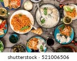 traditional italian food table  ... | Shutterstock . vector #521006506