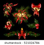 christmas decorations with  fir ... | Shutterstock .eps vector #521026786