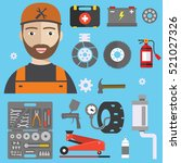 car repair service concept with ... | Shutterstock .eps vector #521027326