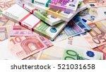Lots of cash money.  Euros. euro money banknotes. Money Euro background - stock photo
