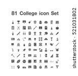 81 college icon set  | Shutterstock .eps vector #521031802
