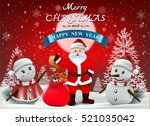 smiling snowman and santa... | Shutterstock .eps vector #521035042