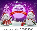 smiling snowman and santa... | Shutterstock .eps vector #521035066