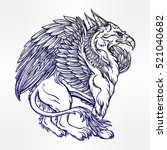 hand drawn vintage griffin ... | Shutterstock .eps vector #521040682