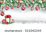 christmas card with red percent ... | Shutterstock .eps vector #521042245