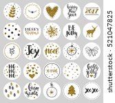 set of round christmas stickers.... | Shutterstock .eps vector #521047825