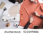 top view of two girls making a... | Shutterstock . vector #521049886
