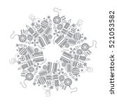 christmas grey wreath with many ... | Shutterstock .eps vector #521053582