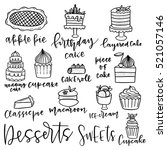 Set Of Hand Drawn Dessert...