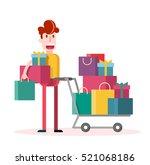 flat boy shopping on white... | Shutterstock .eps vector #521068186