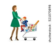 mom shopping in the store with... | Shutterstock .eps vector #521070898